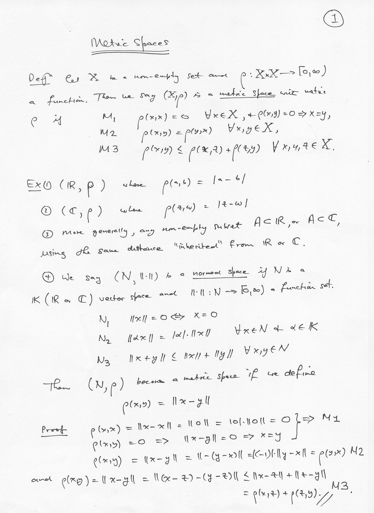 Metric Spaces Math501 18a